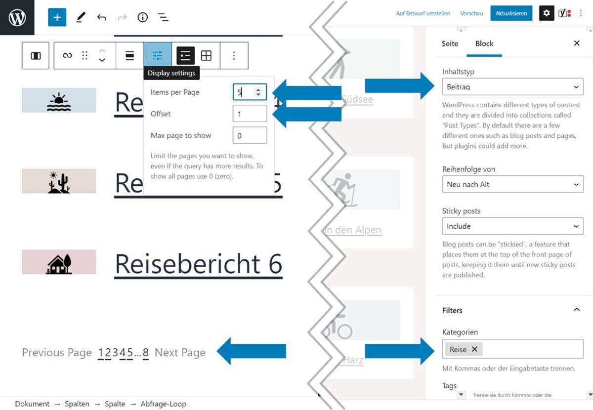 Abbildung - Dank Display Filter möglich: eine Abfrage, die fünf Beiträge pro Seite zeigt und den ersten überspringt.