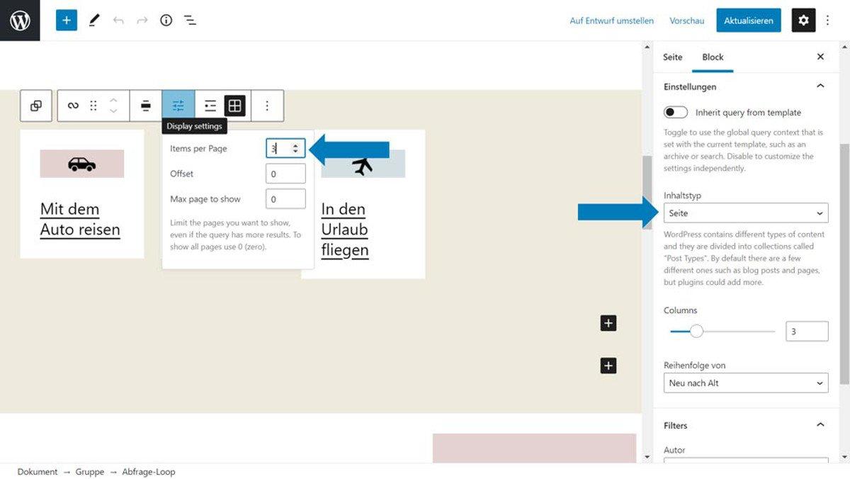 Abbildung - Der Abfrageblock kann auch Seiten abfragen