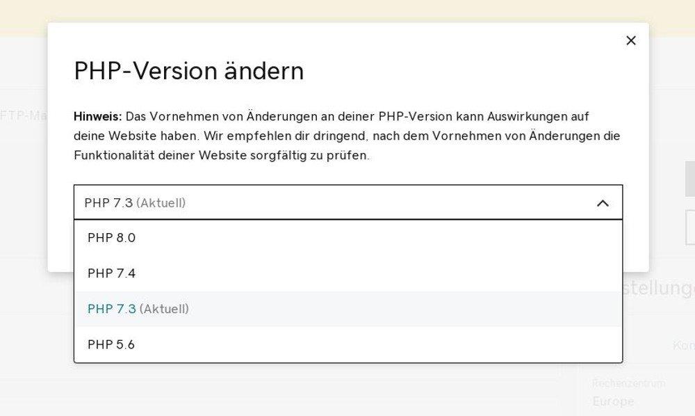 Abbildung PHP-Optionen - PHP-Version ändern