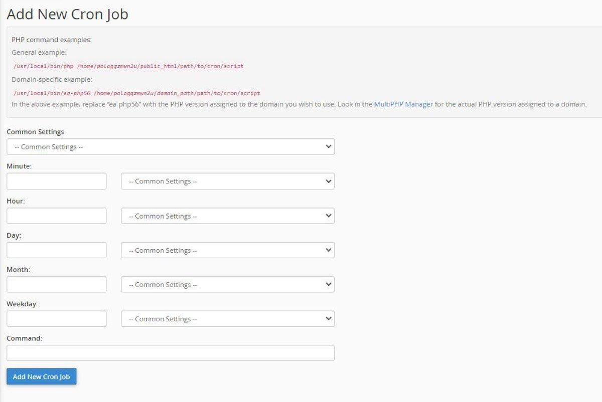 Abbildung Conjobs mit cPanel Cron Jobs