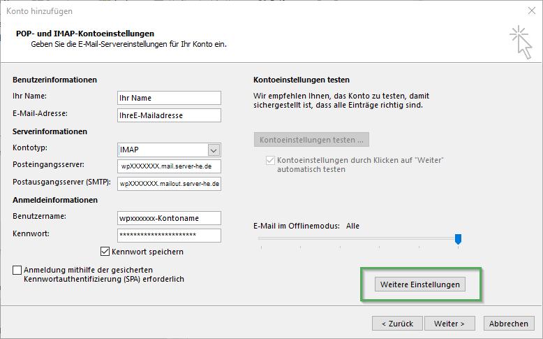 Einrichtung des E-Mail Kontos in Outlook 2013