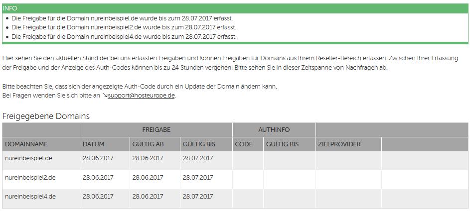 Freigaben Zum Domaintransfer Host Europe