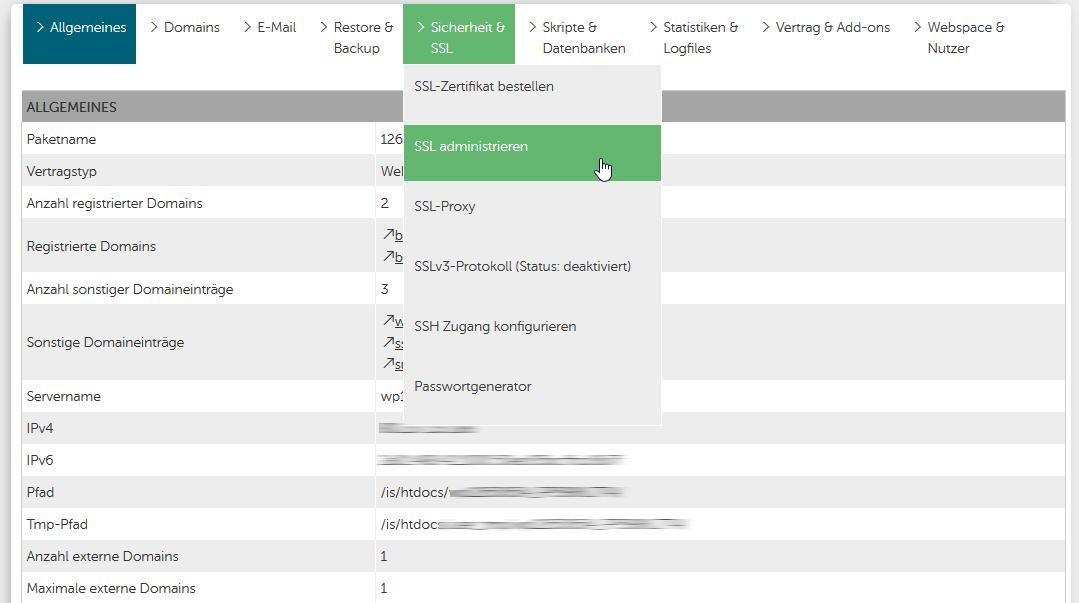 Wie binde ich ein SSL-Zertifikat im Webhosting ein?