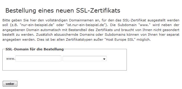 Bestellung eines SSL-Zertificats in KIS