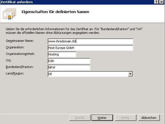 Erstellung von Key und CSR (Windows/IIS)